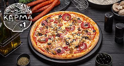 50% скидка на пиццу на тонком тесте — «Ветчина с грибами», «Римская», «Десертная» и другие!